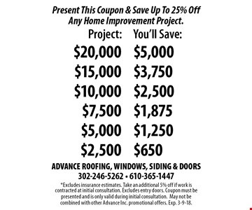 Present This Coupon & Save Up To 25% Off Any Home Improvement Project. Project $20,000, save $5,000. Project $15,000, save $3,750. Project $10,000, save $2,500. Project $7,500, save $1,875. Project $5,000, save $1,250. Project $2,500, save $650. *Excludes insurance estimates. Take an additional 5% off if work is contracted at initial consultation. Excludes entry doors. Coupon must be presented and is only valid during initial consultation. May not be combined with other Advance Inc. promotional offers. Exp. 3-9-18.