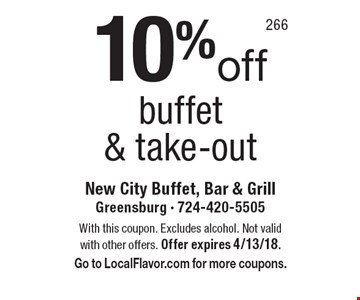 10% off buffet & take-out. With this coupon. Excludes alcohol. Not valid with other offers. Offer expires 4/13/18. Go to LocalFlavor.com for more coupons.