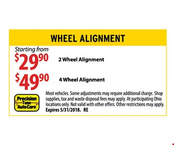 Wheel Alignment. Starting from $29.90 for 2 wheel. $49.90 for 4 wheel