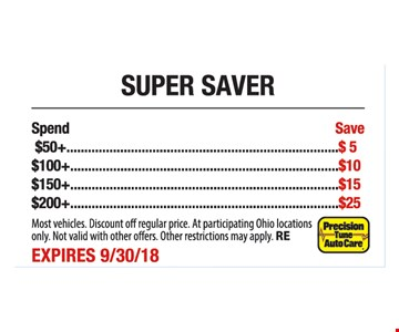 Spend $50, save $5. Spend $100, save $10. Spend $150, save $15. Spend $200, save $20. Super saver. Most vehicles. Discount off regular price. At participating Ohio locations only. Not valid with other offers. Other restrictions may apply. RE. Expires 9-30-18.