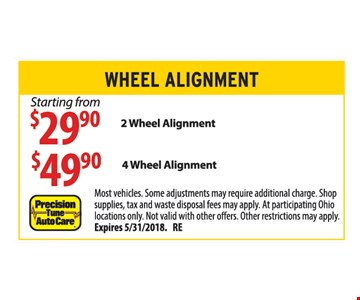 Starting from $29.90 2 Wheel Alignment,  $49.90 4 Wheel Alignment