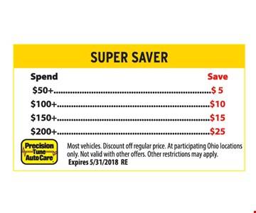 Super Saver, Save up to $25