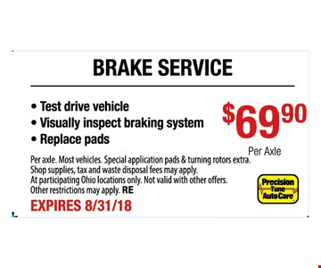 Per axle. Most vehicles. Special application pads & turning rotors extra. Shop supplies, tax and waste disposal fees may apply. At participating Ohio locations only. Not valid with other offers. FREEOther restrictions may apply. RE