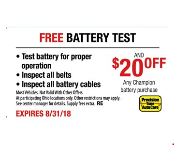 Most Vehicles. Not Valid With Other Offers. At participating Ohio locations only. Other restrictions may apply. See center manager for details. Supply fees extra. RE