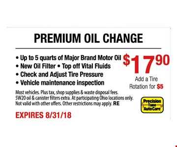 • Up to 5 quarts of Major Brand Motor Oil $1790 • New Oil Filter • Top off Vital Fluids • Check and Adjust Tire Pressure • Vehicle maintenance inspectionMost vehicles. Plus tax, shop supplies & waste disposal fees. 5W20 oil & canister filters extra. At participating Ohio locations only. Not valid with other offers. Other restrictions may apply.