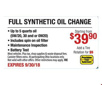 Full synthetic oil change starting from $39.90
