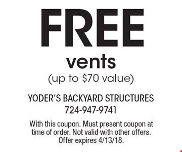 Free vents (up to $70 value). With this coupon. Must present coupon at time of order. Not valid with other offers. Offer expires 4/13/18.