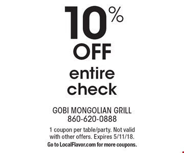 10% off entire check. 1 coupon per table/party. Not valid with other offers. Expires 5/11/18. Go to LocalFlavor.com for more coupons.