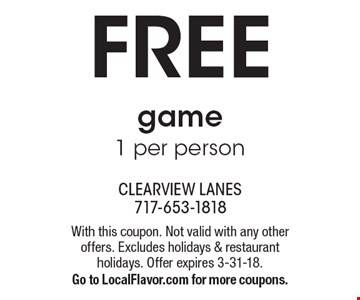 FREE game. 1 per person. With this coupon. Not valid with any other offers. Excludes holidays & restaurant holidays. Offer expires 3-31-18. Go to LocalFlavor.com for more coupons.