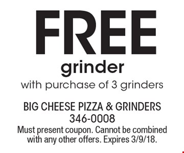 FREE grinder with purchase of 3 grinders. Must present coupon. Cannot be combined with any other offers. Expires 3/9/18.