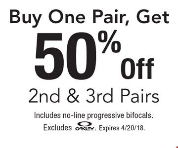 50% Off 2nd & 3rd Pairs Buy One Pair, Get. includes no-line progressive bifocals. Excludes OAKLEY. Expires 4/20/18.