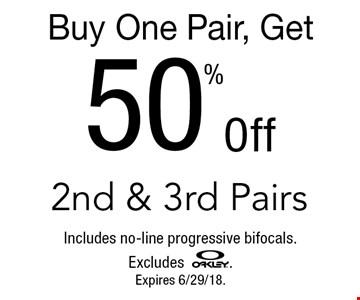 Buy One Pair, Get 50% Off 2nd & 3rd Pairs. Includes no-line progressive bifocals. Excludes OAKLEY. Expires 6/29/18.