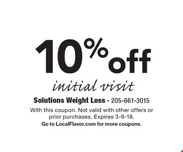 10% off initial visit. With this coupon. Not valid with other offers or prior purchases. Expires 3-9-18. Go to LocalFlavor.com for more coupons.