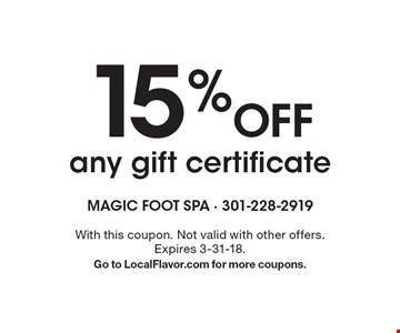 15% Off any gift certificate. With this coupon. Not valid with other offers. Expires 3-31-18. Go to LocalFlavor.com for more coupons.