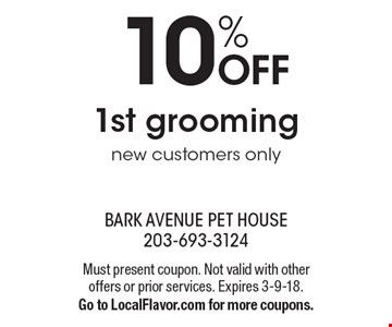 10% OFF 1st grooming new customers only. Must present coupon. Not valid with other offers or prior services. Expires 3-9-18. Go to LocalFlavor.com for more coupons.