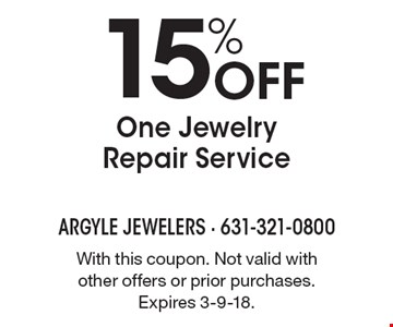 15% Off One Jewelry Repair Service. With this coupon. Not valid with other offers or prior purchases. Expires 3-9-18.
