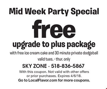 Free upgrade to plus package with free ice cream cake and 30 minute private dodgeball. Valid tues. - thur. only. With this coupon. Not valid with other offers or prior purchases. Expires 4/6/18. Go to LocalFlavor.com for more coupons.