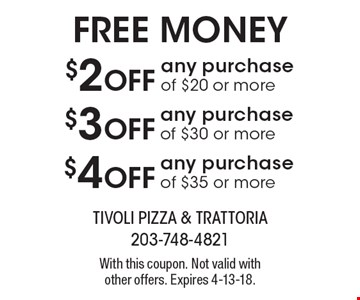 Free money: $4 Off any purchase of $35 or more. $3 Off any purchase of $30 or more. $2 Off any purchase of $20 or more. With this coupon. Not valid with other offers. Expires 4-13-18.