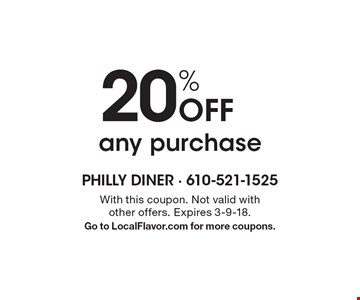 20% Off any purchase. With this coupon. Not valid with other offers. Expires 3-9-18. Go to LocalFlavor.com for more coupons.
