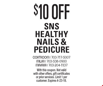 $10 off SNS Healthy Nails & Pedicure. With this coupon. Not valid with other offers, gift certificates or prior services. Limit 1 per customer. Expires 4-23-18.