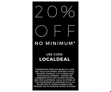 20% off. No minimum.