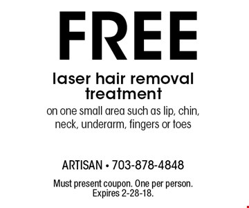 Free laser hair removal treatment on one small area such as lip, chin, neck, underarm, fingers or toes. Must present coupon. One per person. Expires 2-28-18.