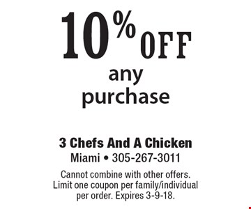 10% off any purchase. Cannot combine with other offers. Limit one coupon per family/individual per order. Expires 3-9-18.