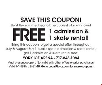 Save this coupon! Beat the summer heat at the coolest place in town! Free 1 admission & 1 skate rental! Bring this coupon to get a special offer throughout July & August! Buy 1 public skate admission & skate rental, get 1 admission & skate rental free! Must present coupon. Not valid with other offers or prior purchases. Valid 7-1-18 thru 8-31-18. Go to LocalFlavor.com for more coupons.