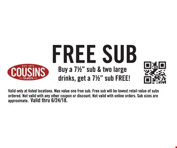 """Buy a 7½"""" sub & two large drinks, get a 7½"""" sub FREE! Valid only at listed locations. Max value one free sub. Free sub will be lowest retail value of subs ordered. Not valid with any other coupon or discount. Not valid with online orders. Sub sizes are approximate. Valid thru 6/24/18."""