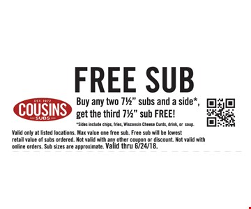 """Buy any two 7½"""" subs and a side*, get the third 7½"""" sub FREE! *Sides include chips, fries, Wisconsin Cheese Curds, drink, or soup. Valid only at listed locations. Max value one free sub. Free sub will be lowest retail value of subs ordered. Not valid with any other coupon or discount. Not valid with online orders. Sub sizes are approximate. Valid thru 6/24/18."""