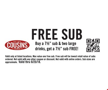 """Buy a 7½"""" sub & two large drinks, get a 7½"""" sub FREE! Valid only at listed locations. Max value one free sub. Free sub will be lowest retail value of subs ordered. Not valid with any other coupon or discount. Not valid with online orders. Sub sizes are approximate. Valid thru 6/25/18."""