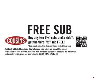 """Buy any two 7½"""" subs and a side*, get the third 7½"""" sub FREE! *Sides include chips, fries, Wisconsin Cheese Curds, drink, or soup. Valid only at listed locations. Max value one free sub. Free sub will be lowest retail value of subs ordered. Not valid with any other coupon or discount. Not valid with online orders. Sub sizes are approximate. Valid thru 6/25/18."""