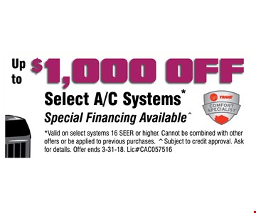 $1000 off select A/C systems
