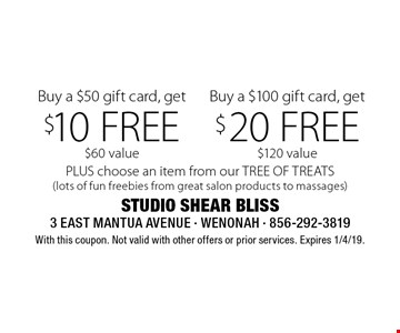 Buy a $100 gift card, get $20 FREE $120 value OR Buy a $50 gift card, get $10 FREE $60 value. PLUS choose an item from our TREE OF TREATS (lots of fun freebies from great salon products to massages). With this coupon. Not valid with other offers or prior services. Expires 1/4/19.