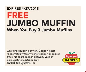 Free jumbo muffin with purchase.