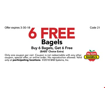 6 Free Bagels. Buy 6 Bagels, Get 6 Free