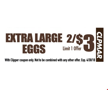 Extra large eggs 2/$3