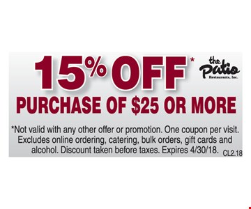 15% Off purchase of $25 or more