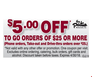 $5 Off to go orders of $25 or more