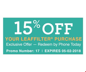 15% OFF YOUR LEAFFILTER PURCHASE -