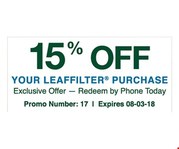 Exclusive offer - Redeem by phone today. Promo number: 7. Expires 08/03/18
