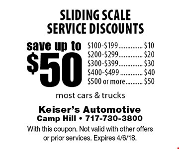 Save up to $50 sliding scale service discounts. $100-$199 save $10. $200-$299 save $20. $300-$399 save $30. $400-$499 save $40. $500 or more save $50. Most cars & trucks. With this coupon. Not valid with other offers or prior services. Expires 4/6/18.
