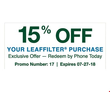 Exclusive offer - Redeem by phone today. Promo number: 17. Expires 07-27-18