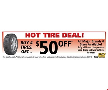 buy 4 tires and get $50 Off