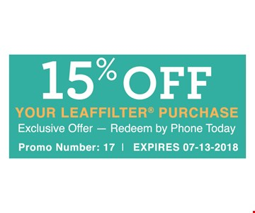 15% Off Your Leaffilter Purchase