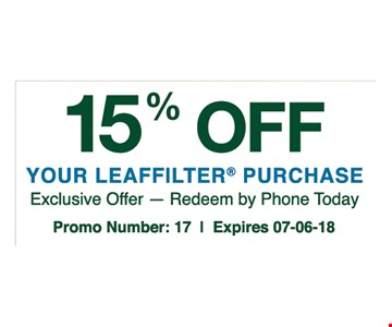 15% off your leaf filter purchase.