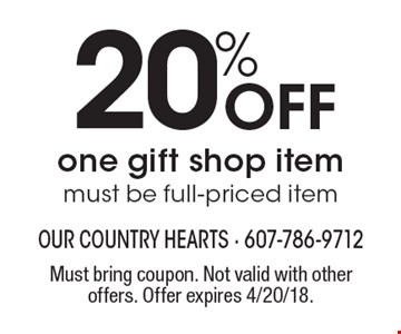 20% Off one gift shop item, must be full-priced item. Must bring coupon. Not valid with other offers. Offer expires 4/20/18.