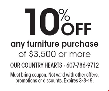10% Off any furniture purchase of $3,500 or more. Must bring coupon. Not valid with other offers, promotions or discounts. Expires 3-8-19.
