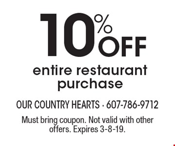 10% Off entire restaurant purchase. Must bring coupon. Not valid with other offers. Expires 3-8-19.
