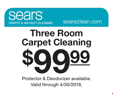 $99.99 Three Room Carpet Cleaning. Protector & Deodorizer available. Valid through 4/30/2018.